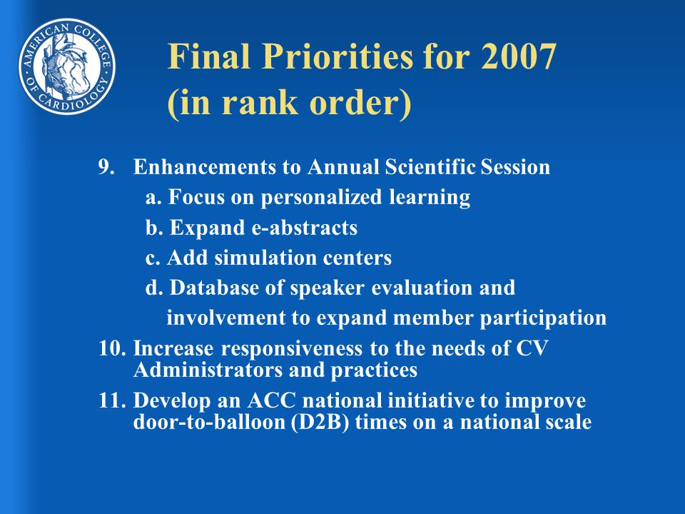 Final Priorities for 2007 (in rank order) 9.Enhancements to Annual Scientific Session a. Focus on personalized learning b. Expand e-abstracts c. Add s