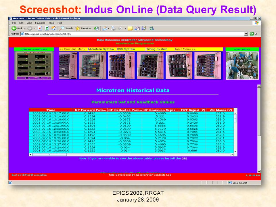 EPICS 2009, RRCAT January 28, 2009 Screenshot: Indus OnLine (Data Query Result)
