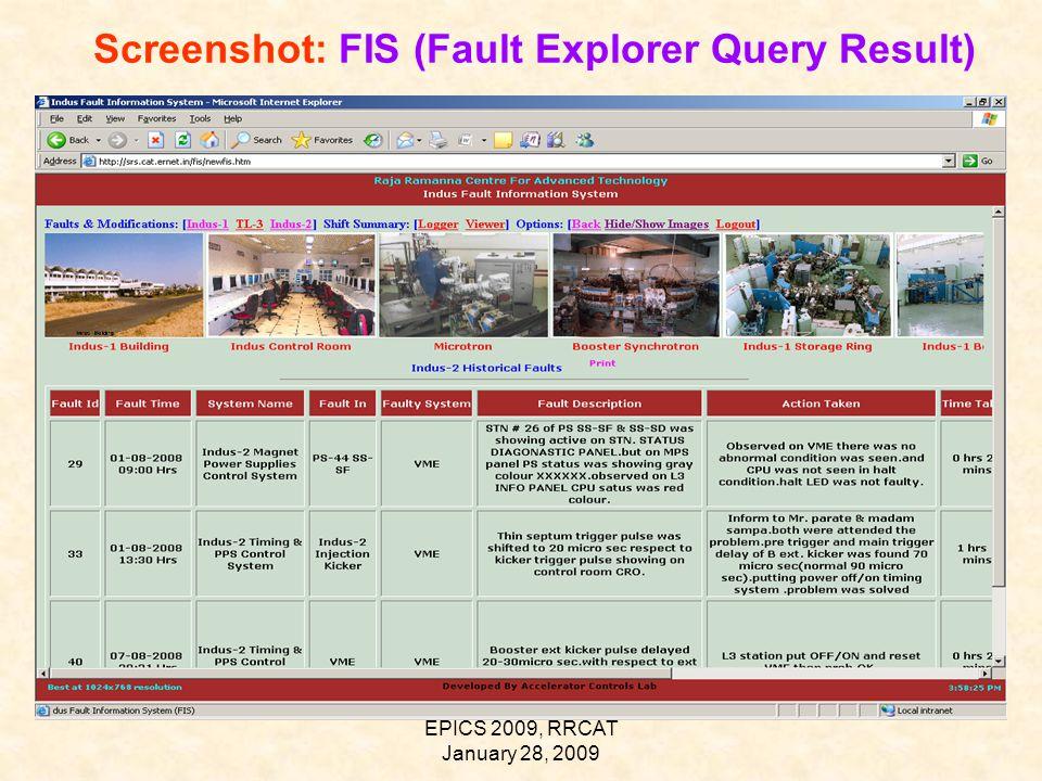 EPICS 2009, RRCAT January 28, 2009 Screenshot: FIS (Fault Explorer Query Result)