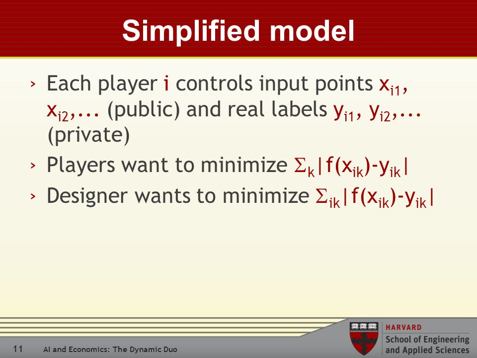 11 AI and Economics: The Dynamic Duo Simplified model › Each player i controls input points x i1, x i2,...