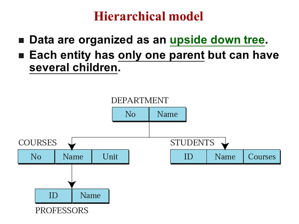 The Hierarchical Model (continued) Disadvantages Complex to implement Difficult to manage Lacks structural independence Implementation limitations Lack of standards