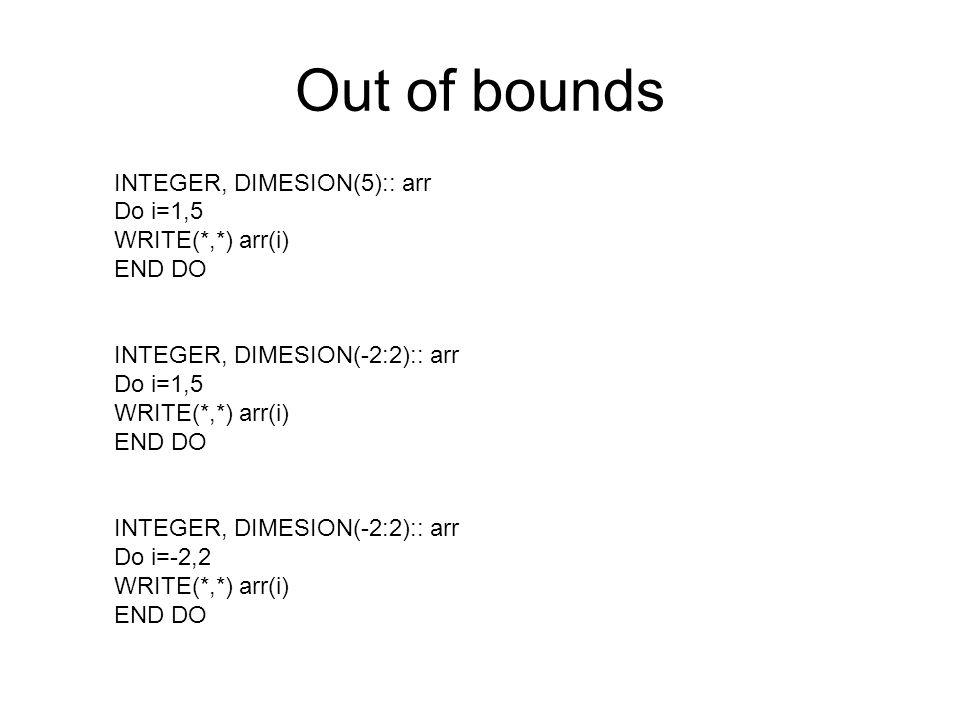 Out of bounds INTEGER, DIMESION(5):: arr Do i=1,5 WRITE(*,*) arr(i) END DO INTEGER, DIMESION(-2:2):: arr Do i=1,5 WRITE(*,*) arr(i) END DO INTEGER, DI