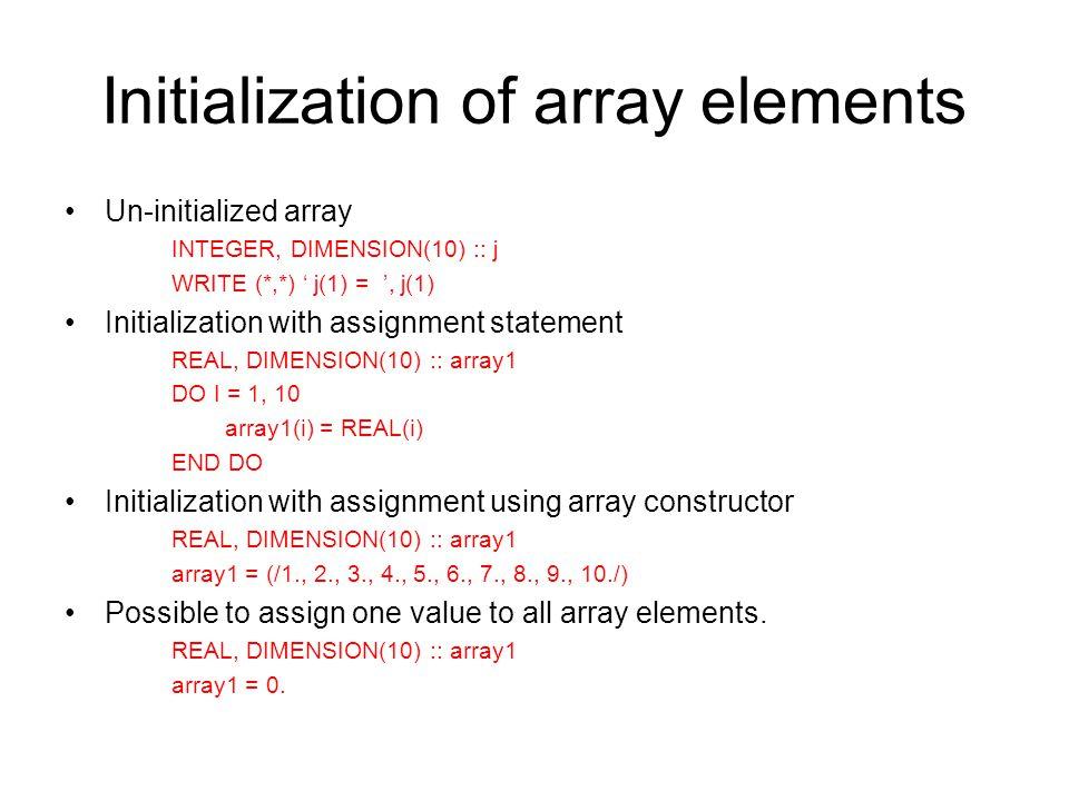 Fortran array assignment