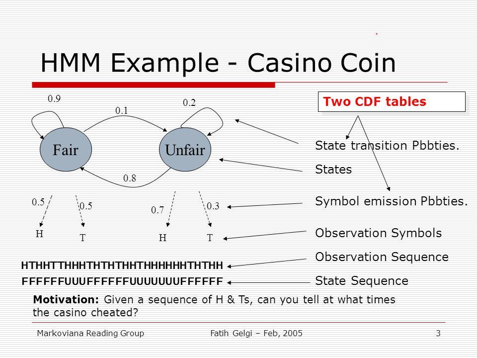 Markoviana Reading GroupFatih Gelgi – Feb, 20053 HMM Example - Casino Coin FairUnfair 0.9 0.2 0.8 0.1 0.3 0.5 0.7 H HTT State transition Pbbties. Symb