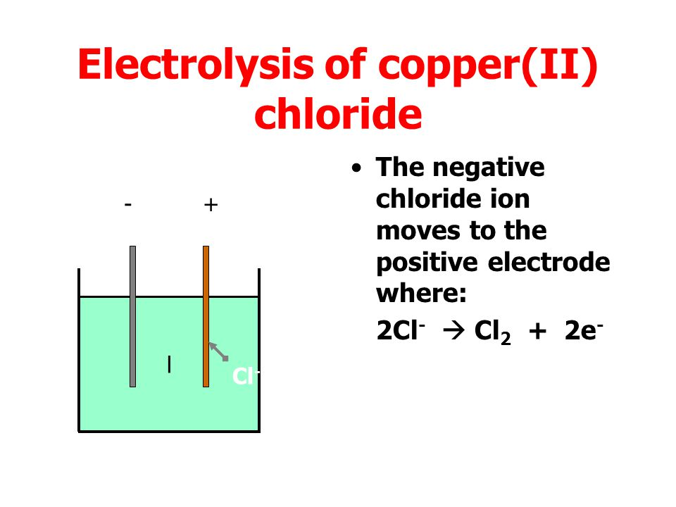 Electrolysis At the positive electrode: Chlorine, bromine, iodine or oxygen (from water) are released.