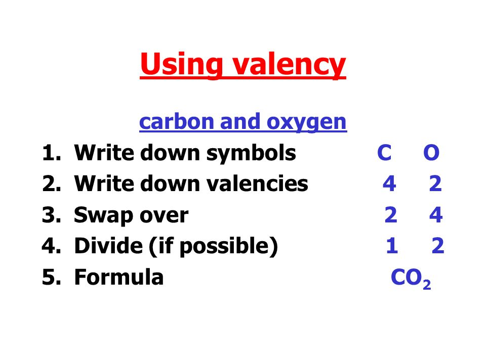 Chemical Formulae Using valency 1.Write down symbols 2.Write down valencies 3.Swap over 4.Divide (if possible) 5.Formula