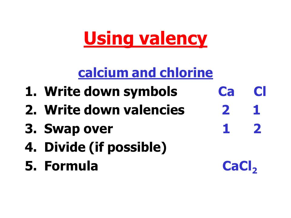 Using valency carbon and oxygen 1.Write down symbols C O 2.Write down valencies 4 2 3.Swap over 2 4 4.Divide (if possible) 1 2 5.Formula CO 2