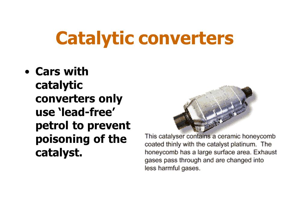 Catalytic converters Catalytic convertors are fitted to cars to catalyse the conversion of poisonous carbon monoxide and oxides of nitrogen to carbon dioxide and nitrogen.