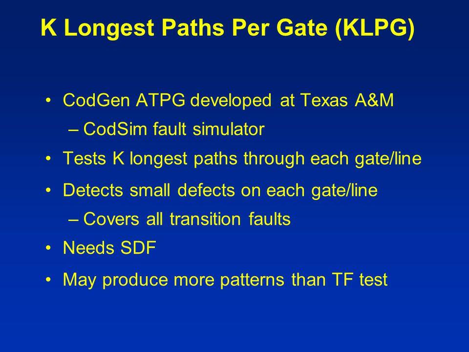 K Longest Paths Per Gate (KLPG) CodGen ATPG developed at Texas A&M –CodSim fault simulator Tests K longest paths through each gate/line Detects small