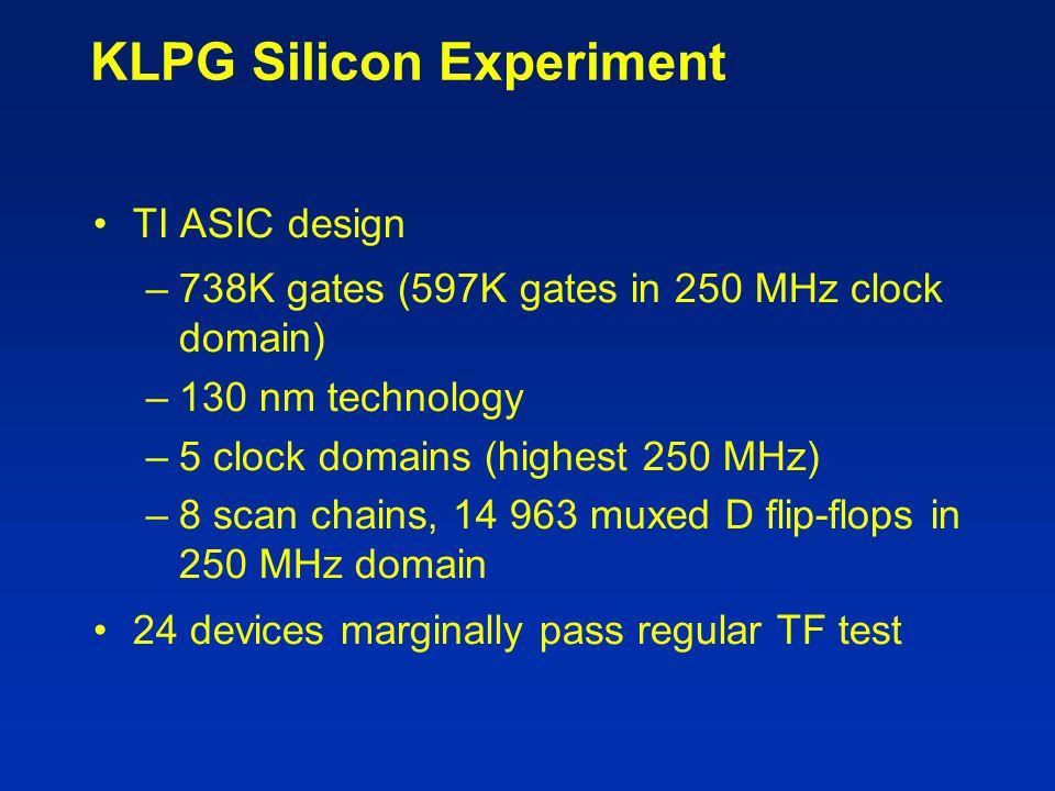 KLPG Silicon Experiment TI ASIC design –738K gates (597K gates in 250 MHz clock domain) –130 nm technology –5 clock domains (highest 250 MHz) –8 scan