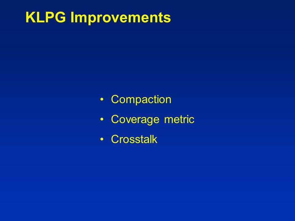 KLPG Improvements Compaction Coverage metric Crosstalk