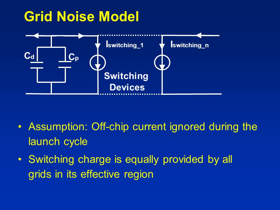 Grid Noise Model Assumption: Off-chip current ignored during the launch cycle Switching charge is equally provided by all grids in its effective regio
