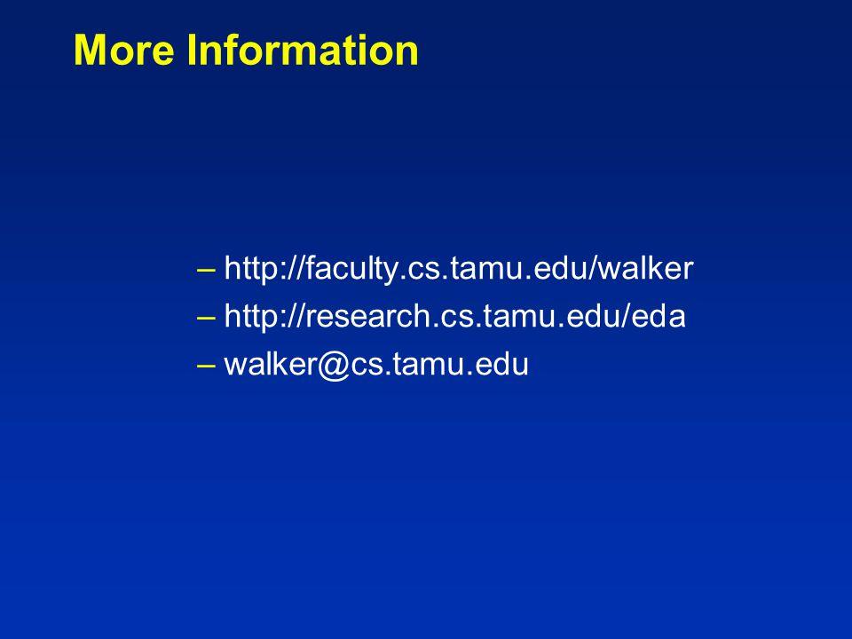 More Information –http://faculty.cs.tamu.edu/walker –http://research.cs.tamu.edu/eda –walker@cs.tamu.edu