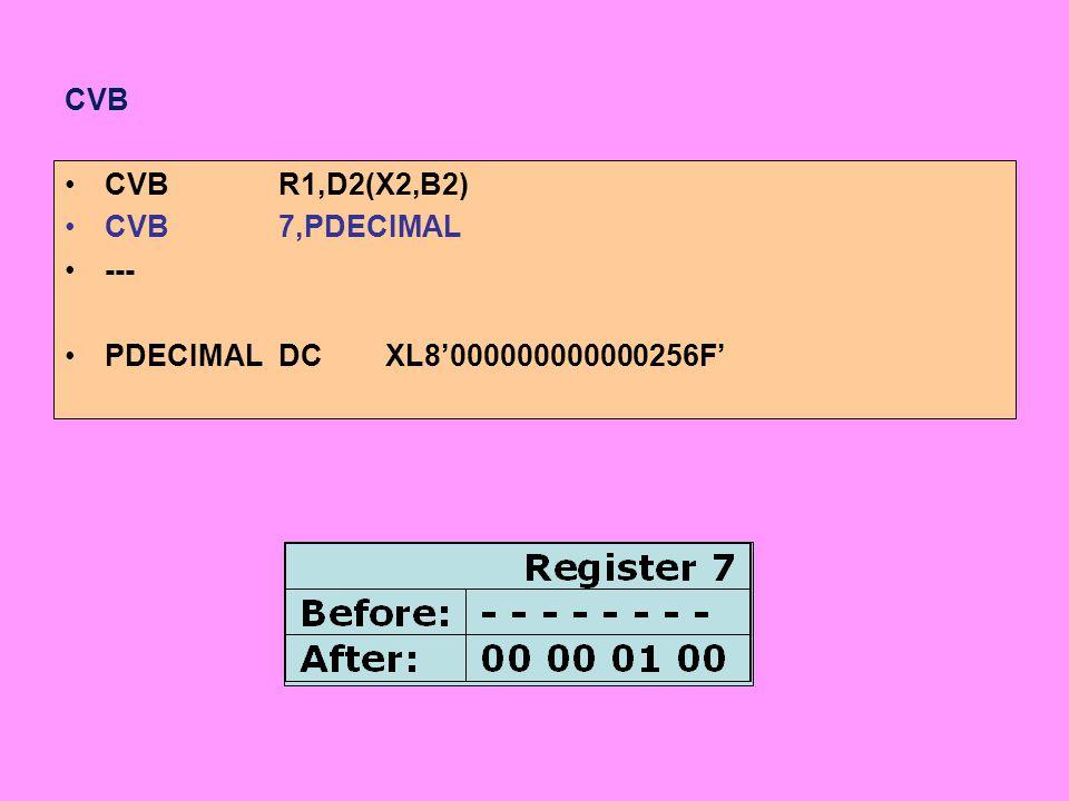 CVB CVBR1,D2(X2,B2) CVB7,PDECIMAL --- PDECIMALDCXL8'000000000000256F'