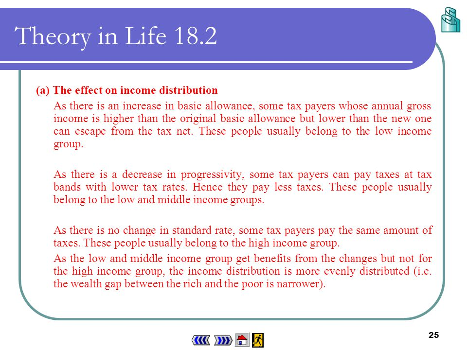 24 Theory in Life 18.2 The changes of the salaries tax system shown above are: The changes implied The changes seen in the table The changes seen in the diagram 1.An increase in basic allowance.
