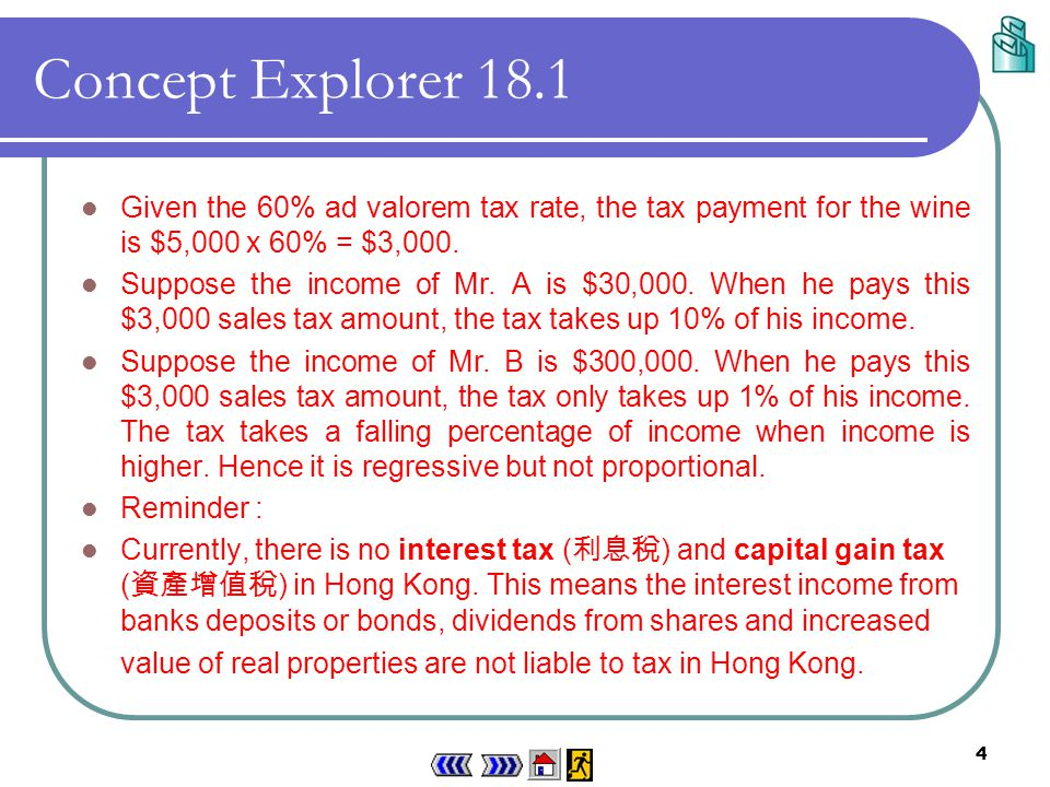 3 Concept Explorer 18.1 Classifying an ad valorem sales tax Suppose the price of a bottle of wine is $5,000.