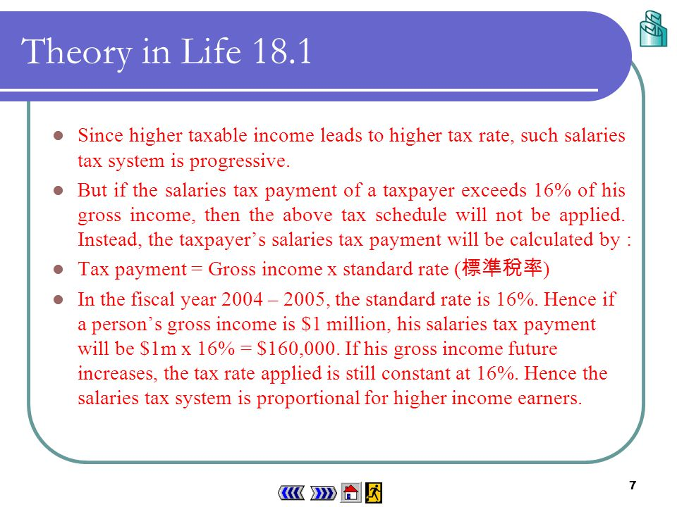 6 Theory in Life 18.1 If the (annual) gross income of the income earners in Hong Kong is more than the tax allowances, their taxable income will be taxed by the HKSAR government according to the following schedule: Taxable incomeTax rate First $30,0002% Next $30,0008% Next $30,00014% The remaining20% Table 18.1 Hong Kong salaries tax schedule in 2004 – 2005