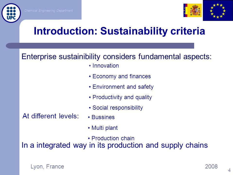 Chemical Engineering Department Lyon, France2008 5 Sustainability Global Index-AIChE Value-Chain Management Social Responsibility Safety Performance Innovation Strategic Commitment Environmental Performance Product Stewardship Chemical companies from Global Fortune 500 U.S.