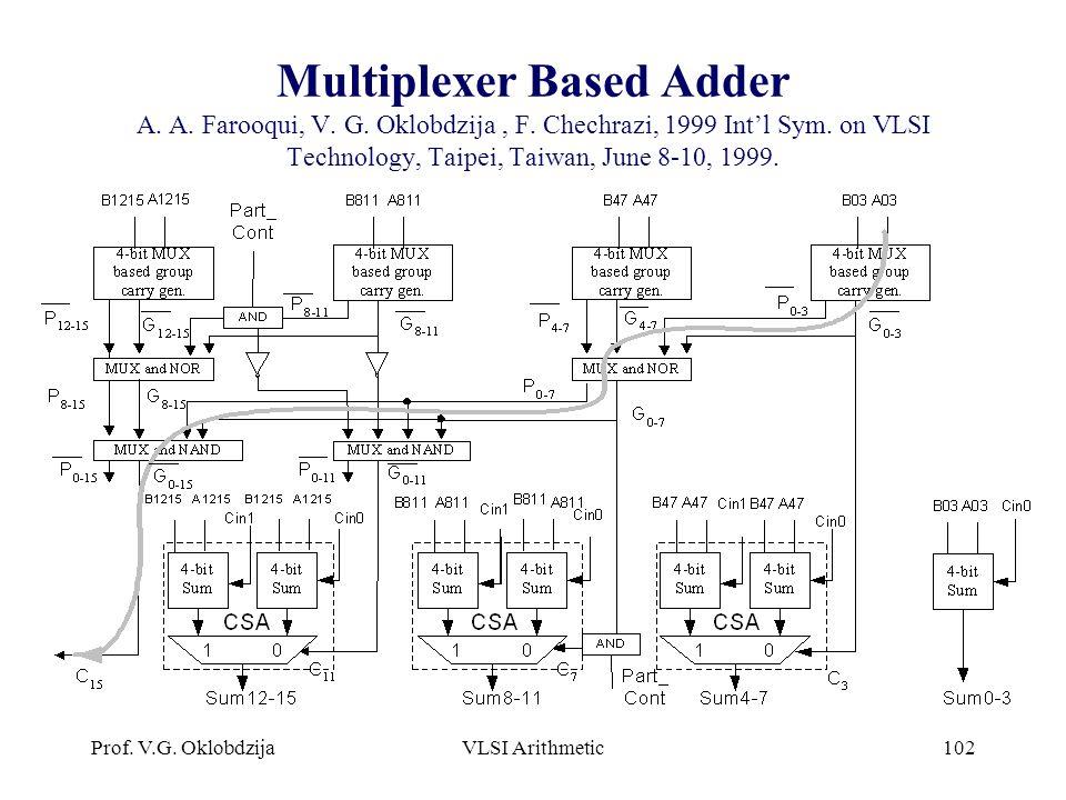 Prof. V.G. OklobdzijaVLSI Arithmetic102 Multiplexer Based Adder A. A. Farooqui, V. G. Oklobdzija, F. Chechrazi, 1999 Int'l Sym. on VLSI Technology, Ta