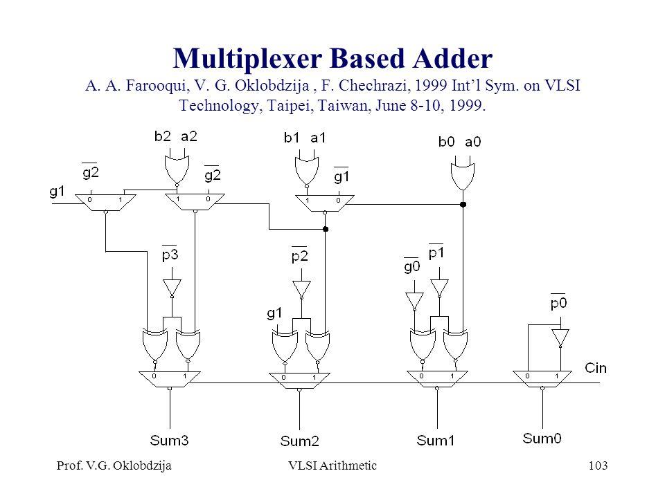 Prof. V.G. OklobdzijaVLSI Arithmetic103 Multiplexer Based Adder A. A. Farooqui, V. G. Oklobdzija, F. Chechrazi, 1999 Int'l Sym. on VLSI Technology, Ta