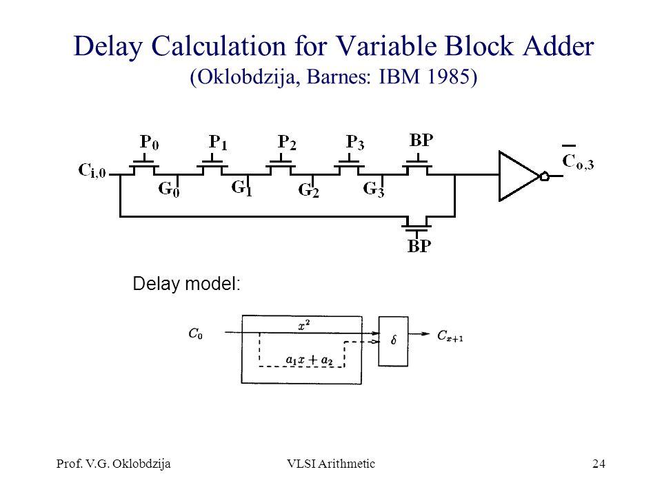 Prof. V.G. OklobdzijaVLSI Arithmetic24 Delay Calculation for Variable Block Adder (Oklobdzija, Barnes: IBM 1985) Delay model: