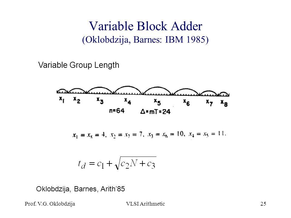 Prof. V.G. OklobdzijaVLSI Arithmetic25 Variable Block Adder (Oklobdzija, Barnes: IBM 1985) Variable Group Length Oklobdzija, Barnes, Arith'85