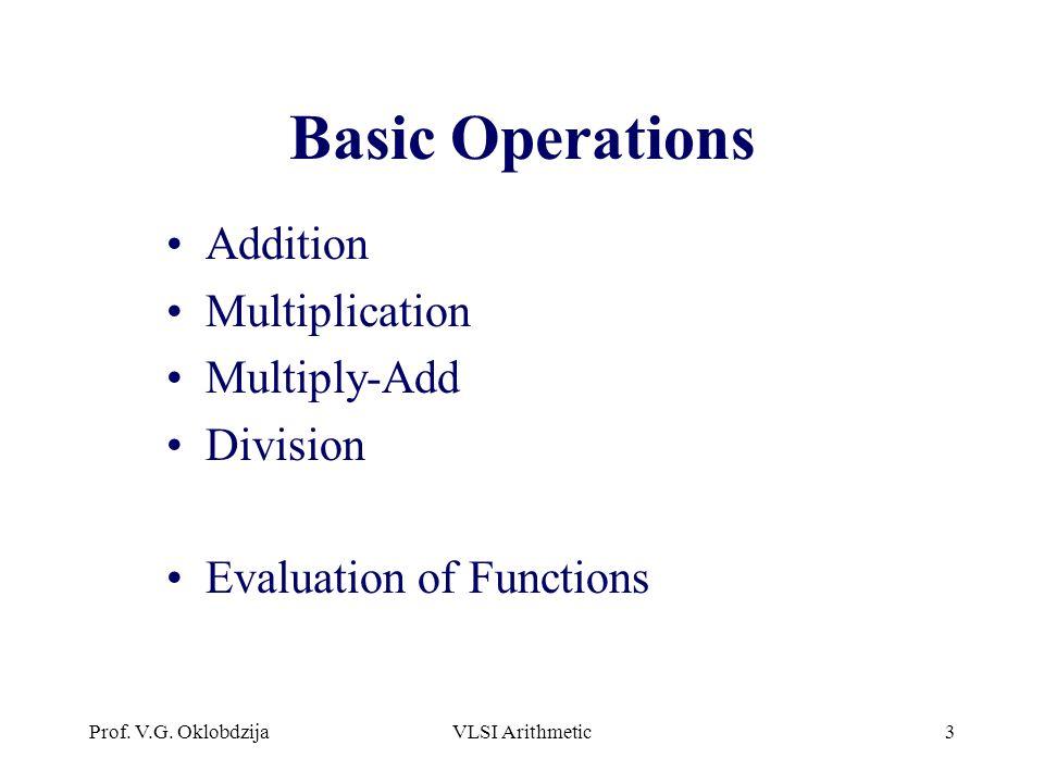Prof. V.G. OklobdzijaVLSI Arithmetic3 Basic Operations Addition Multiplication Multiply-Add Division Evaluation of Functions