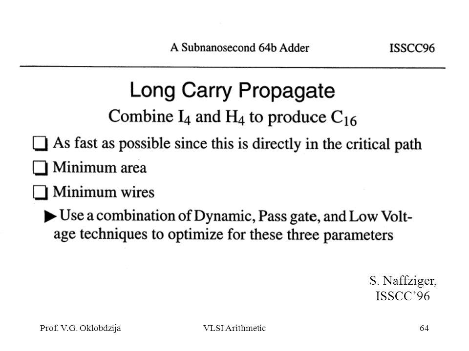 Prof. V.G. OklobdzijaVLSI Arithmetic64 S. Naffziger, ISSCC'96