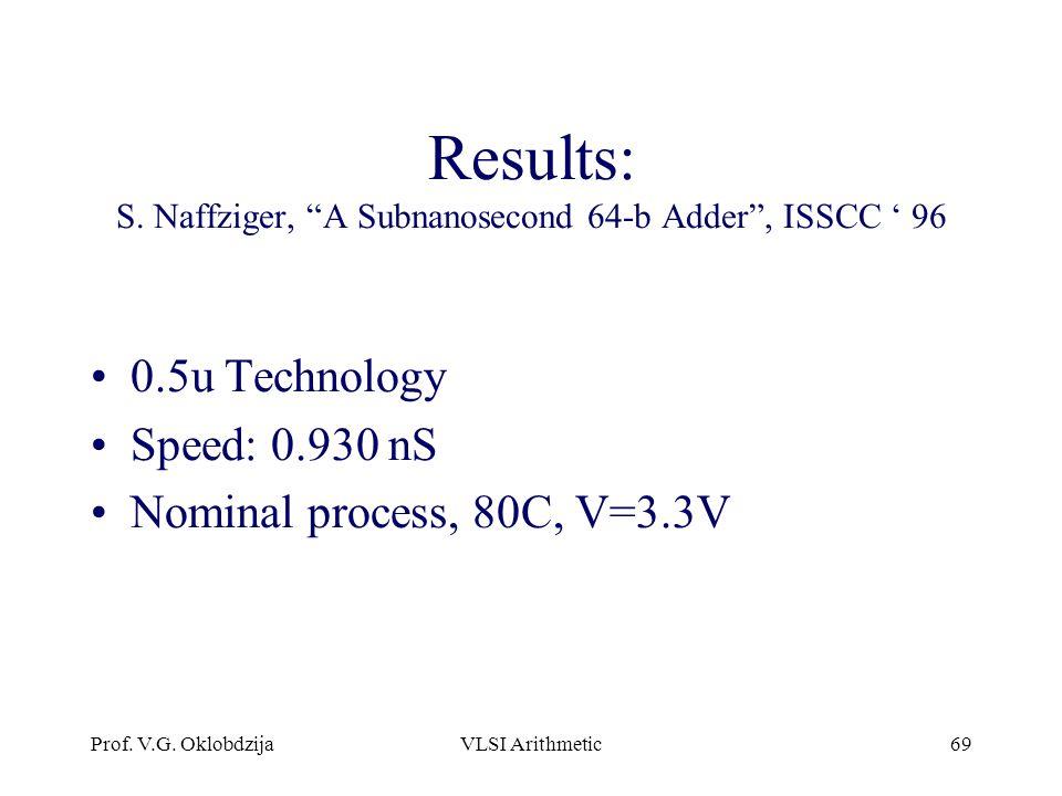 "Prof. V.G. OklobdzijaVLSI Arithmetic69 Results: S. Naffziger, ""A Subnanosecond 64-b Adder"", ISSCC ' 96 0.5u Technology Speed: 0.930 nS Nominal process"