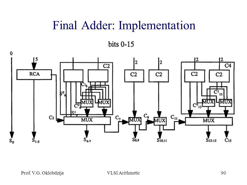 Prof. V.G. OklobdzijaVLSI Arithmetic90 Final Adder: Implementation
