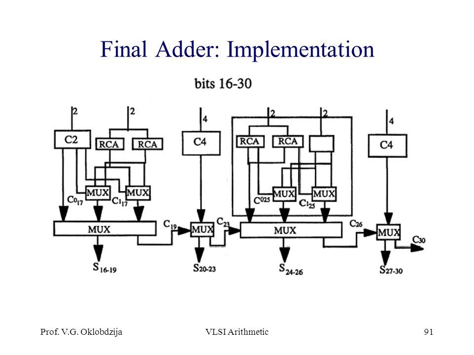 Prof. V.G. OklobdzijaVLSI Arithmetic91 Final Adder: Implementation