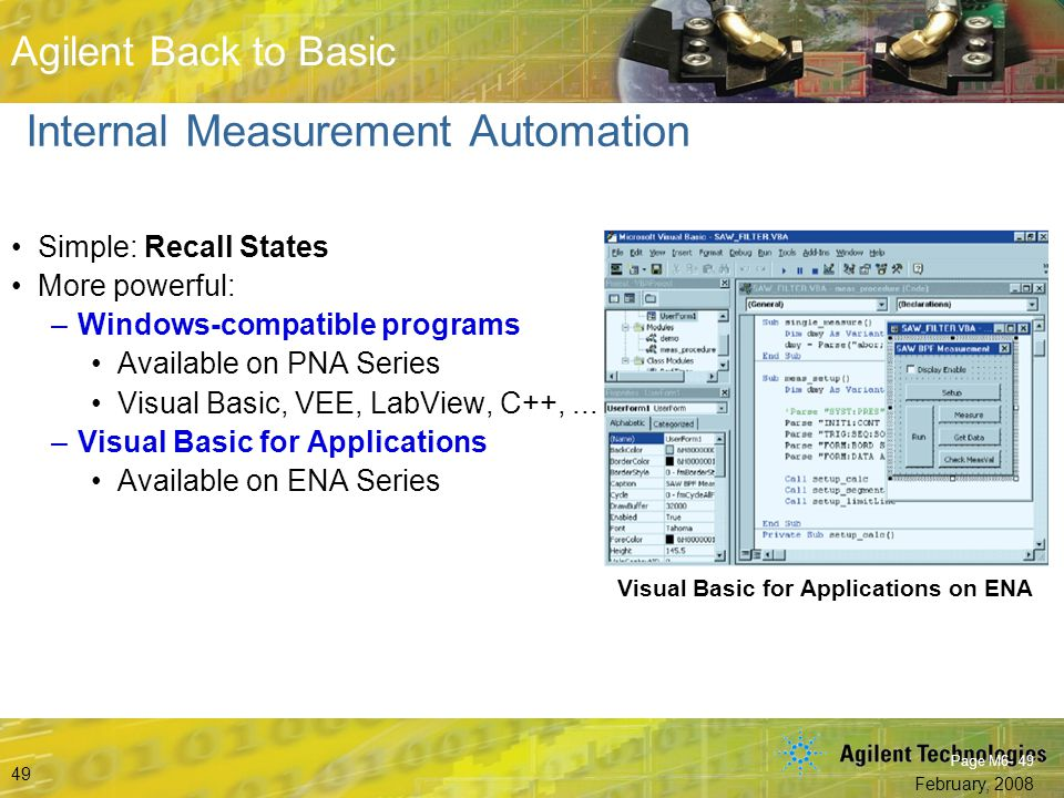 Beyond S-Parameters © Agilent Technologies, Inc. 2007 Aerospace and Defense Symposium 2007 Agilent Back to Basic February, 2008 49 Agilent Back to Bas