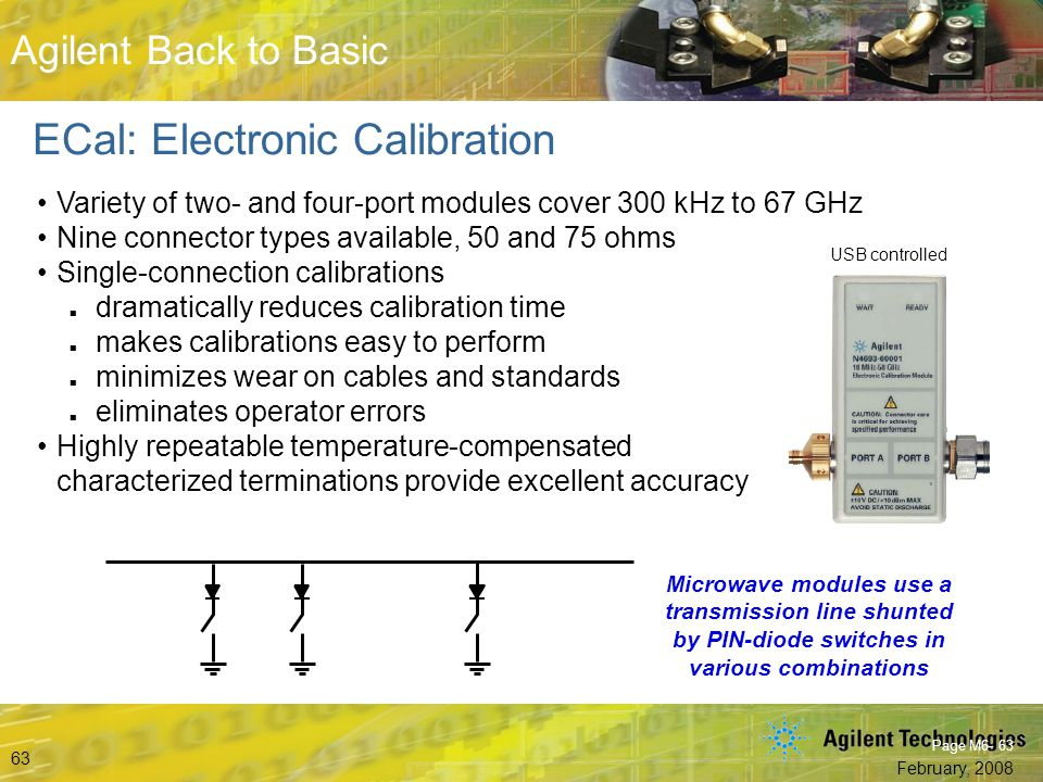 Beyond S-Parameters © Agilent Technologies, Inc. 2007 Aerospace and Defense Symposium 2007 Agilent Back to Basic February, 2008 63 Agilent Back to Bas