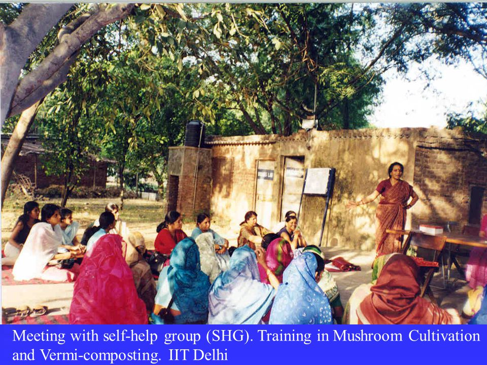 Meeting with self-help group (SHG). Training in Mushroom Cultivation and Vermi-composting.