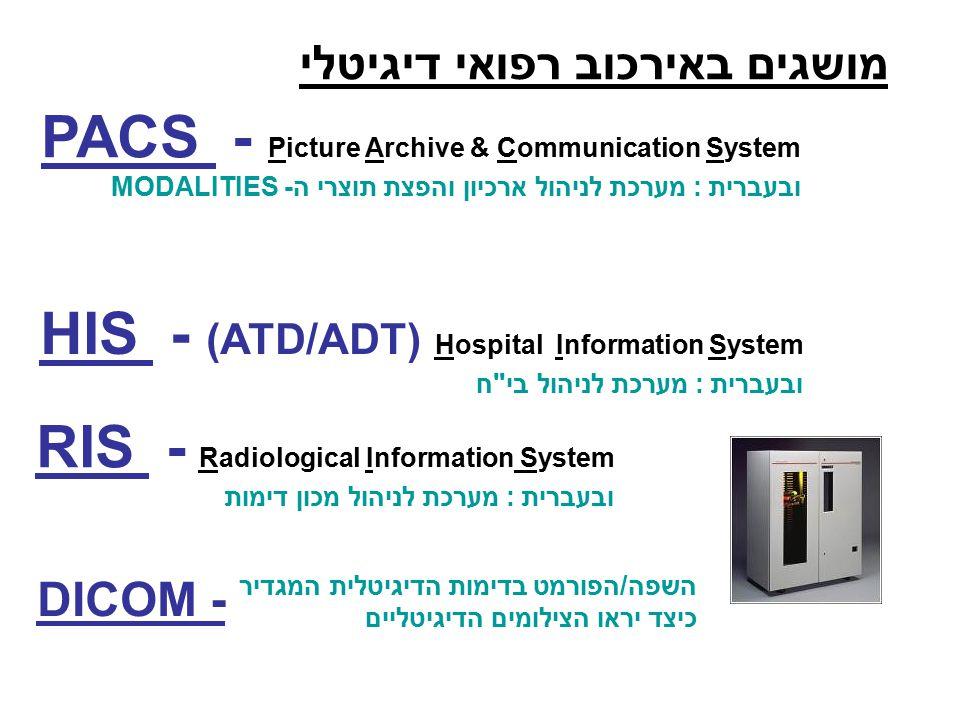 מושגים באירכוב רפואי דיגיטלי PACS - Picture Archive & Communication System ובעברית : מערכת לניהול ארכיון והפצת תוצרי ה- MODALITIES HIS - (ATD/ADT) Hospital Information System ובעברית : מערכת לניהול בי ח RIS - Radiological Information System ובעברית : מערכת לניהול מכון דימות DICOM - השפה/הפורמט בדימות הדיגיטלית המגדיר כיצד יראו הצילומים הדיגיטליים