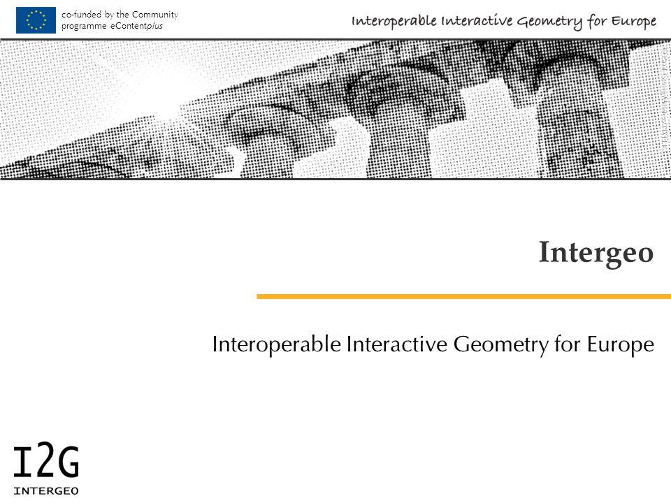 Software Partners ActiveMath http://www.activemath.org Cabri Geometry II, Cabri 3D http://www.cabri.com Cinderella http://cinderella.de GeoGebra http://www.geogebra.org Geonext http://www.geonext.de Geoplan/Geospace http://www.aid-creem.org OpenMath http://www.openmath.org TracenPoche http://tracenpoche.sesamath.net WIRIS http://www.wiris.com and others – see www.inter2geo.eu