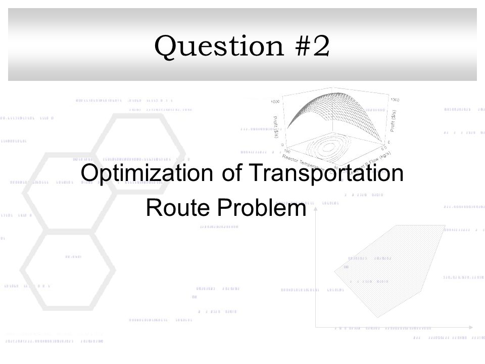 Question #2 Optimization of Transportation Route Problem