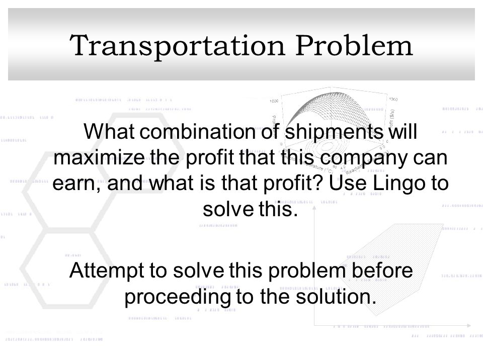 Transportation Problem What combination of shipments will maximize the profit that this company can earn, and what is that profit.