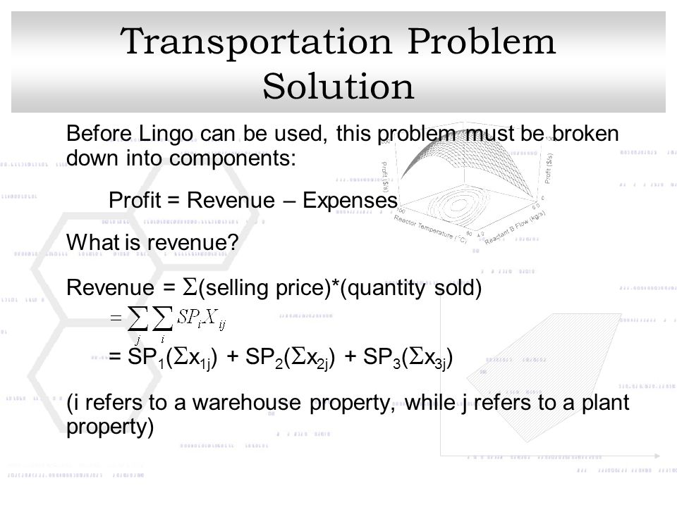 Transportation Problem Solution Before Lingo can be used, this problem must be broken down into components: Profit = Revenue – Expenses What is revenue.