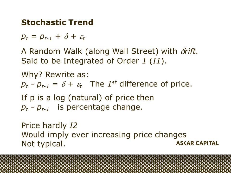 Stochastic Trend p t = p t-1 +  +  t A Random Walk (along Wall Street) with  rift.