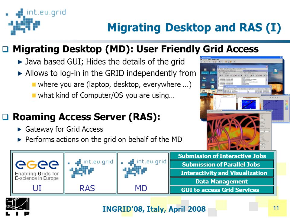 INGRID'08, Italy, April 2008 11 Migrating Desktop and RAS (I)  Migrating Desktop (MD): User Friendly Grid Access Java based GUI; Hides the details of the grid Allows to log-in in the GRID independently from where you are (laptop, desktop, everywhere...) what kind of Computer/OS you are using…  Roaming Access Server (RAS): Gateway for Grid Access Performs actions on the grid on behalf of the MD UIRASMD GUI to access Grid Services Data Management Interactivity and Visualization Submission of Parallel Jobs Submission of Interactive Jobs