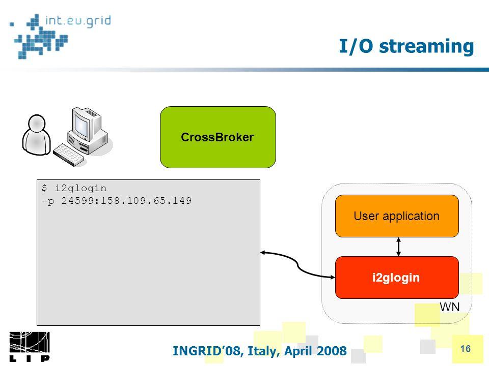 INGRID'08, Italy, April 2008 16 WN i2glogin I/O streaming CrossBroker User application $ i2glogin -p 24599:158.109.65.149