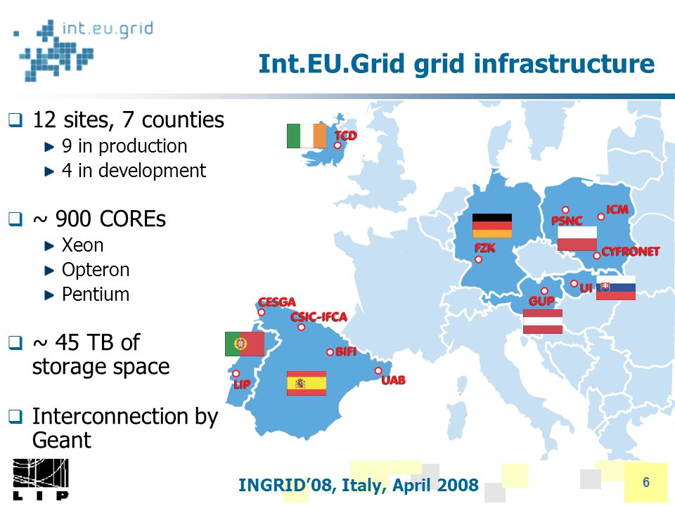 INGRID'08, Italy, April 2008 6 Int.EU.Grid grid infrastructure  12 sites, 7 counties 9 in production 4 in development  ~ 900 COREs Xeon Opteron Pentium  ~ 45 TB of storage space  Interconnection by Geant