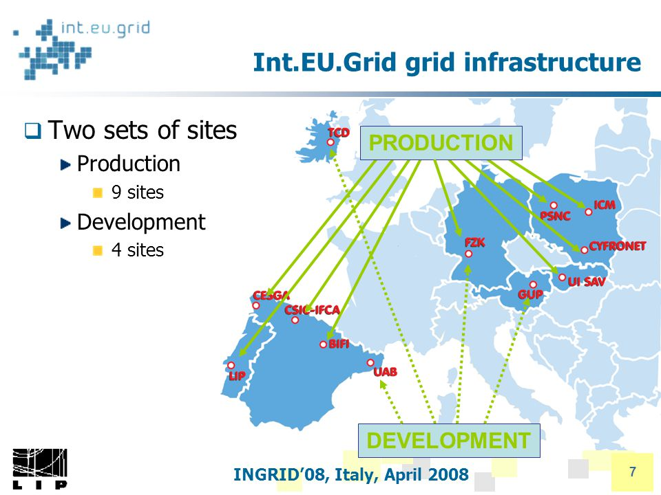 INGRID'08, Italy, April 2008 7 Int.EU.Grid grid infrastructure  Two sets of sites Production 9 sites Development 4 sites DEVELOPMENT PRODUCTION