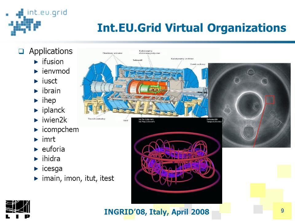 INGRID'08, Italy, April 2008 9 Int.EU.Grid Virtual Organizations  Applications ifusion ienvmod iusct ibrain ihep iplanck iwien2k icompchem imrt euforia ihidra icesga imain, imon, itut, itest