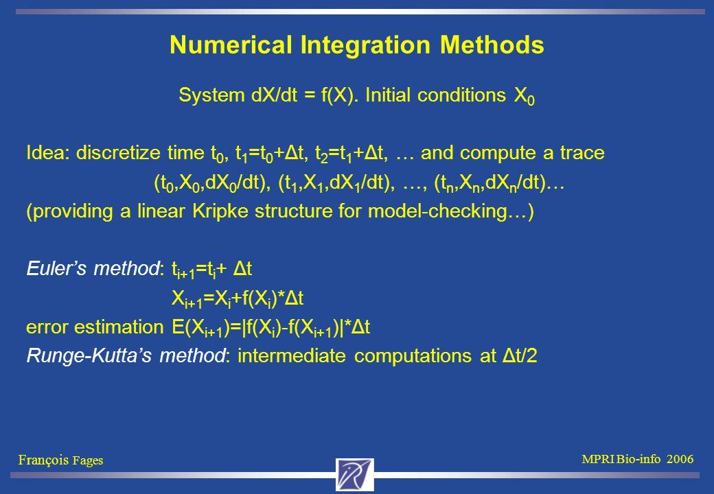 François Fages MPRI Bio-info 2006 Numerical Integration Methods System dX/dt = f(X). Initial conditions X 0 Idea: discretize time t 0, t 1 =t 0 +Δt, t