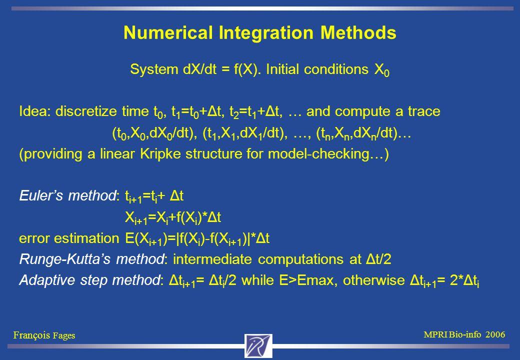 François Fages MPRI Bio-info 2006 Numerical Integration Methods System dX/dt = f(X).