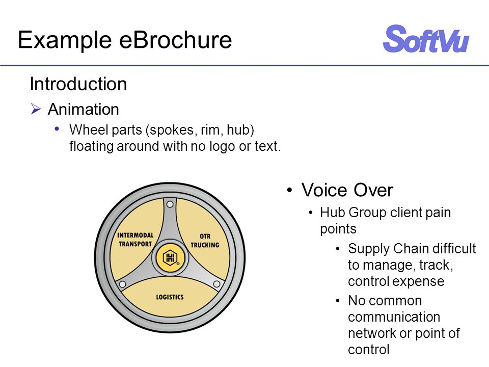 Example eBrochure Introduction  Animation Wheel parts (spokes, rim, hub) floating around with no logo or text.