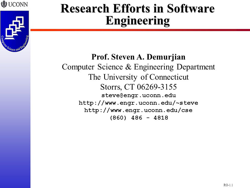 RO-1.1 Research Efforts in Software Engineering Prof.