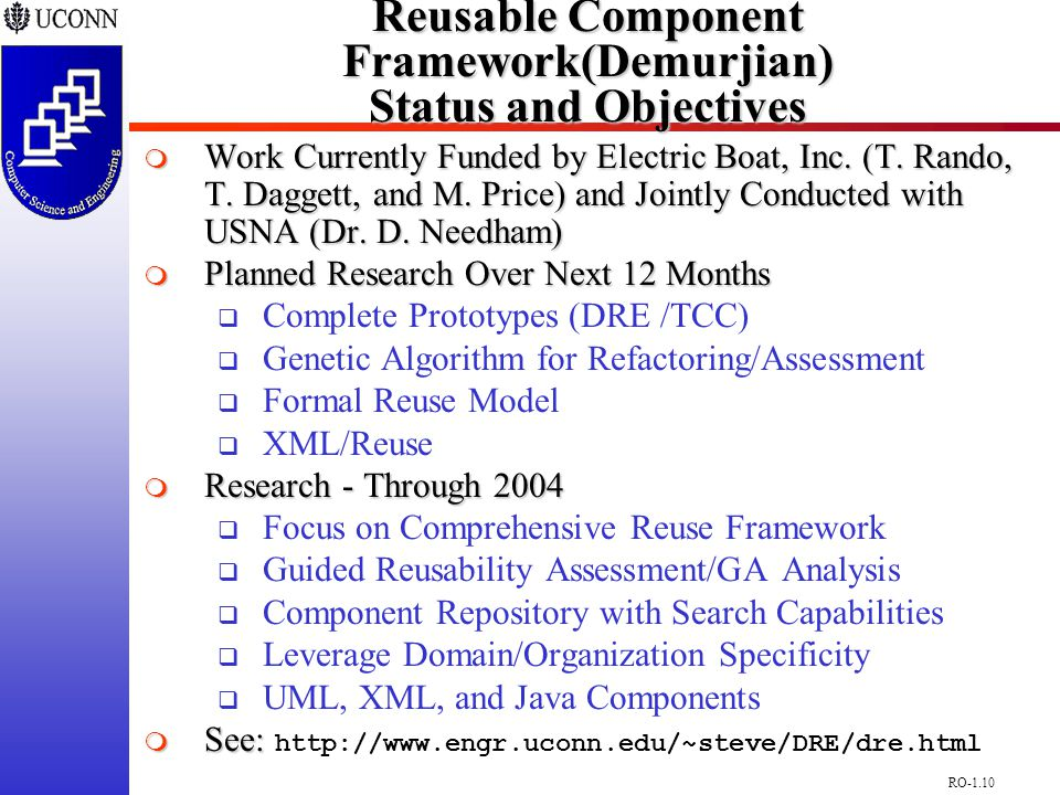 RO-1.10 Reusable Component Framework(Demurjian) Status and Objectives  Work Currently Funded by Electric Boat, Inc.